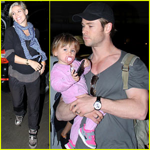 Chris Hemsworth Carries India in His Muscular Arms at LAX!
