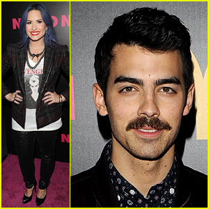 Demi Lovato & Mustachioed Joe Jonas: Nylon Magazine Party!