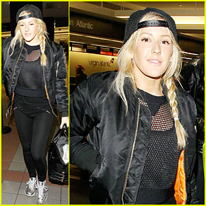 Ellie Goulding Sports Perforated Top for LAX Departure!