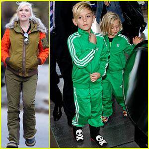 Gwen Stefani's Sons Kingston & Zuma Wear Matching Track Suits