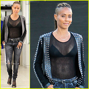 Jada Pinkett Smith Flashes Black Bra in Sexy Sheer Top!
