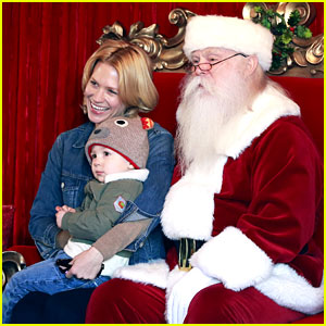 January Jones Takes Xander to Meet Santa Claus!