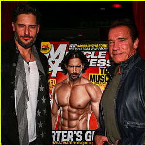 Joe Manganiello Celebrates 'Muscle & Fitness' Cover with Arnold Schwarzenegger