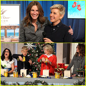 Julia Roberts Co-Hosts 'Ellen', Makes Crafts with Martha Stewart!