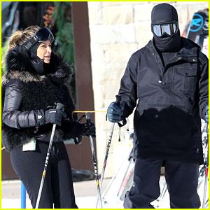 Kanye West Wears Full Face Mask While Skiing with Kim Kardashian