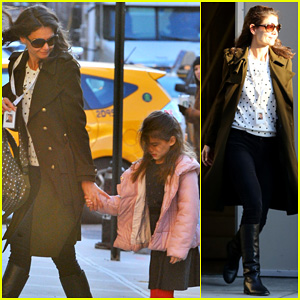 Katie Holmes: Early Morning Drop Off with Suri!