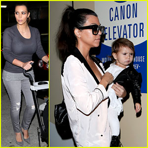 Kim & Kourtney Kardashian Get Lunch with Their Daughters!