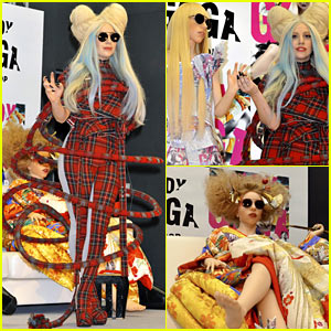 Lady Gaga Rocks Plaid, Poses with Life-Sized Gaga Dolls at Press Event!