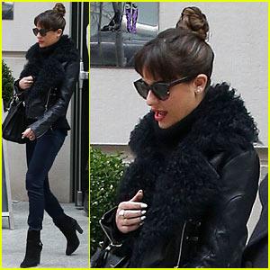 Lea Michele Begins 'Louder' Promo Work in New York City!
