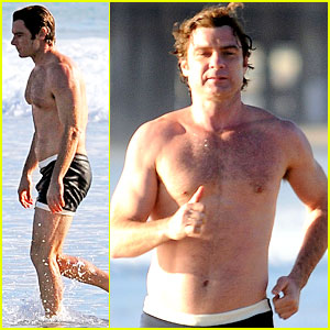 Liev Schreiber Goes Shirtless in Skimpy Swimsuit at the Beach!