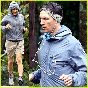 Matthew McConaughey Braves the Rain for a Run in Brazil