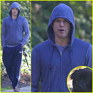 Michael C. Hall: Low Profile Walk with Pet Pooch!
