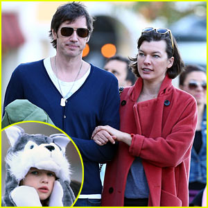 Milla Jovovich & Paul W.S. Anderson Enjoy Lunch with Ever!