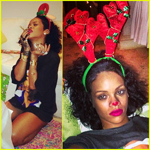 Rihanna is a Red Nosed Reindeer at Her Christmas Eve Party!