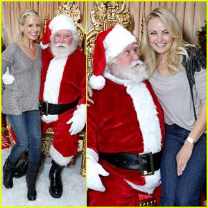 Sarah Michelle Gellar & Malin Akerman Sit on Santa's Lap!