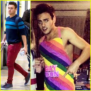 Tom Daley & Dustin Lance Black: Matching Rainbow Socks for Christmas!