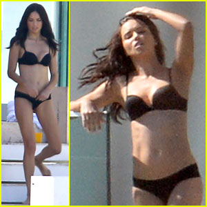 Adriana Lima Rocks Black Bikini for 'Victoria's Secret' Shoot!