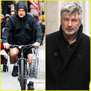 Alec Baldwin Bikes in Shorts in Freezing New York City
