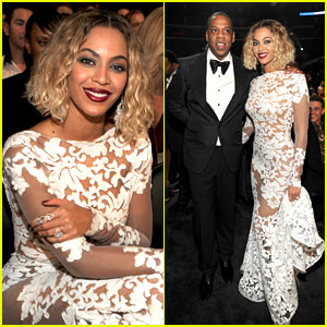 Beyonce Wears Sexy Sheer White Dress at Grammys 2014!