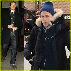 Charlie Hunnam Braves the Cold in New York City!