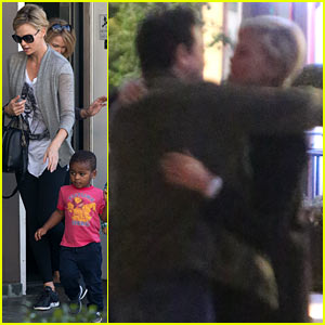 Charlize Theron Hugs Seth MacFarlane Goodbye After Dinner