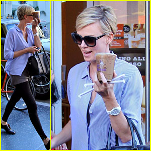 Charlize Theron Picks Up Coffee on Hollywood Boulevard