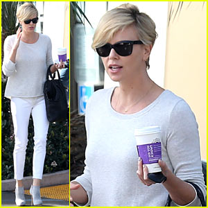 Charlize Theron is a Vision in White for Morning Coffee Run!