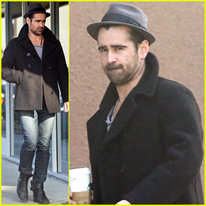 Colin Farrell Wears His Fedora & Peacoat for Coffee Run