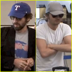 Daft Punk Guys Take Helmets Off for Flight Out of Los Angeles!