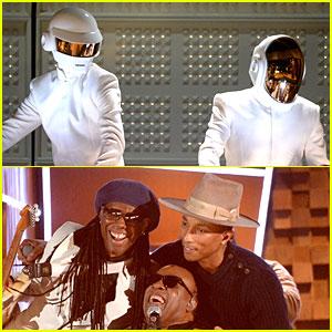 Daft Punk & Pharrell Williams Perform 'Get Lucky' at Grammys 2014 (Video)!