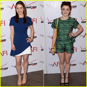 Emilia Clarke & Maisie Williams - AFI Awards Luncheon 2014