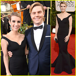 Emma Roberts & Evan Peters - Golden Globes 2014 Red Carpet