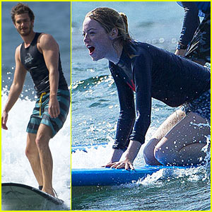 Emma Stone & Andrew Garfield Surf the Waves in Hawaii!