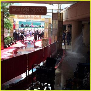 Golden Globes Red Carpet Flooded After Sprinkler Goes Off (Photos)