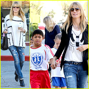 Heidi Klum Grabs Coffee Before JAG Gym Stop with the Kids!