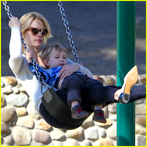 January Jones Joins Instagram, Rides Swings with Xander!