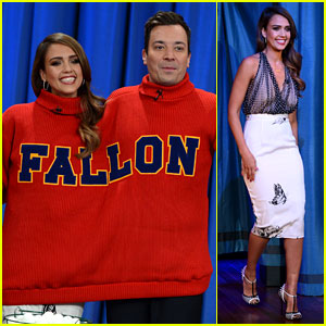 Jessica Alba Gets Into Jimmy Fallon's Sweater on 'Late Night'!