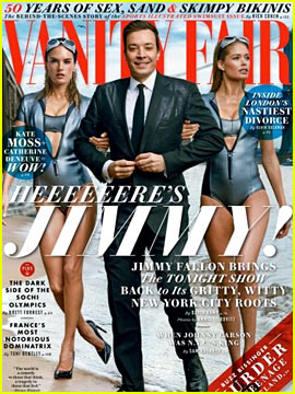 Jimmy Fallon Walks with Alessandra Ambrosio & Doutzen Kroes for 'Vanity Fair'