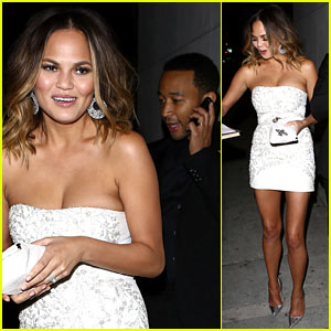 Chrissy Teigen & John Legend Dine Out After Sports Illustrated Party