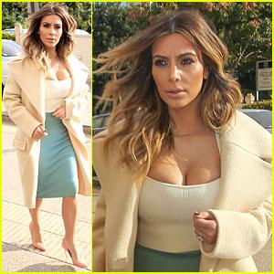 Kim Kardashian Bares Cleavage for Barneys Shopping Trip!