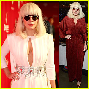 Lady Gaga: White Cut-out Dress at MusiCares Gala 2014