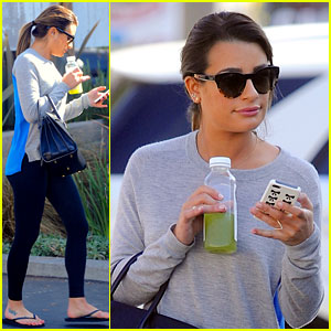 Lea michele picks up fresh juice before fun morning on glee