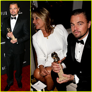 Leonardo DiCaprio Shows Off Golden Globe at Weinstein Party