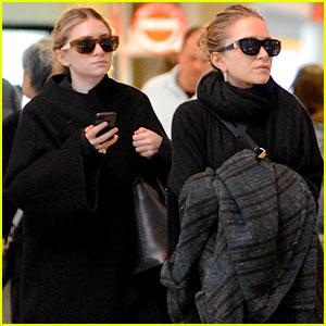 Mary-Kate & Ashley Olsen Both Wear Black at LAX Airport