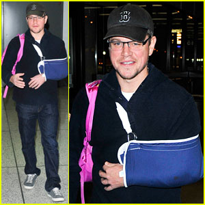Matt Damon Arrives at LAX Airport with Injured Arm