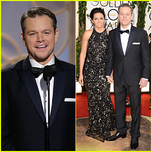 Matt Damon - Golden Globes 2014 with Wife Luciana