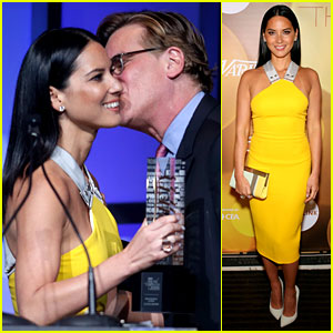Olivia Munn Presented Variety Award by Aaron Sorkin!