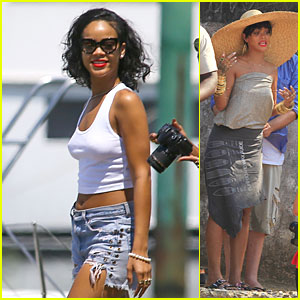 Rihanna Bares Flat Tummy in Rio de Janeiro!