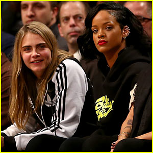 Rihanna & Cara Delevingne Cheer Court Side for Brooklyn Nets!