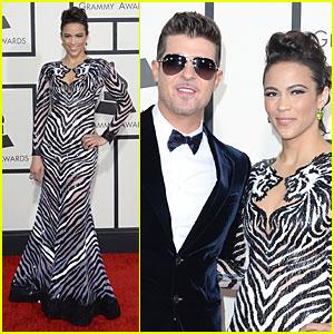 Robin Thicke & Paula Patton - Grammys 2014 Red Carpet